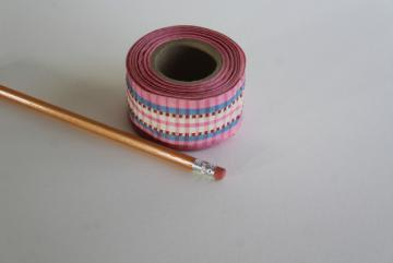 vintage taffeta ribbon, woven checked plaid stripe candy pink, red, blue