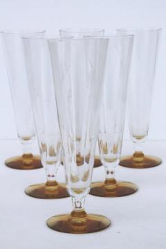 vintage tall elegant glass champagne flutes, clear / amber foot mimosa glasses