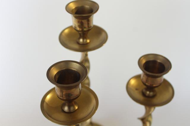vintage tall solid brass candlesticks, ribbon twist trio graduated sizes candle holders set