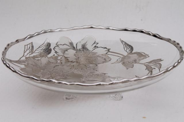 Vintage Tarnished Silver Overlay Glass Dish Footed