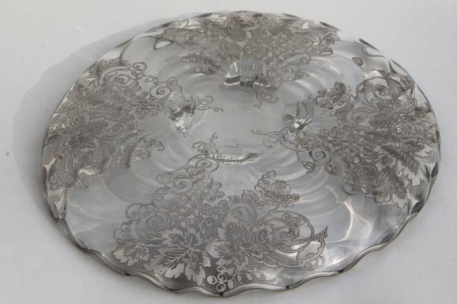 vintage tarnished silver overlay glass plate, footed serving tray or cake stand