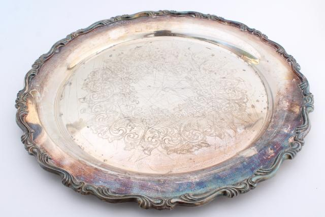 vintage tarnished silver plate round platter or serving tray, rustic wedding cake plate