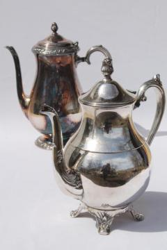 vintage tarnished silver teapots, mis-matched silver tea pot & coffee set