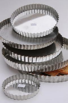 vintage tart or quiche pans in all sizes, fluted pastry tins with removable bottoms