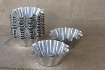 vintage tart pans, fluted metal baking dishes, molds for pastry or patty shells