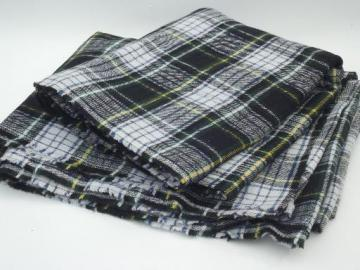 vintage tartan plaid wool / rayon fabric, blanket fabric or coat material