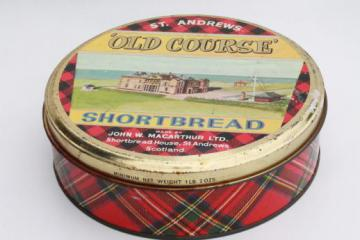 vintage tartan ware Scottish shortbread tin w/ St. Andrews old course golf scene