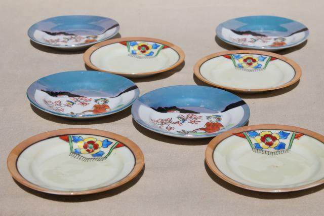 vintage tea party china doll dishes, little hand painted porcelain plates