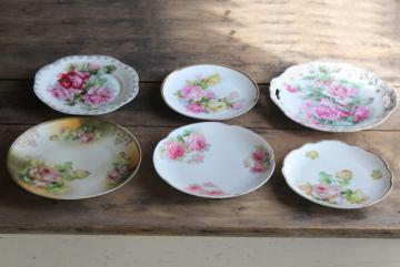 vintage tea table china, mismatched old roses painted cake plates & serving trays