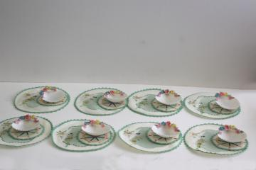 vintage tea table party set, fancy seashell dishes & embroidered rounds coasters napkins