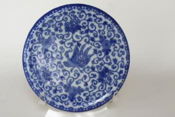 vintage tea table trivet, blue & white phoenix ware round china plate for a tea kettle