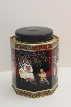 vintage tea tin, metal canister w/ lacquer ware style black red gold Chinese scene