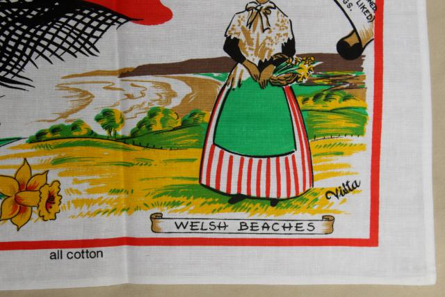 vintage tea towel w/ Welsh recipes traditional food favorites of Wales