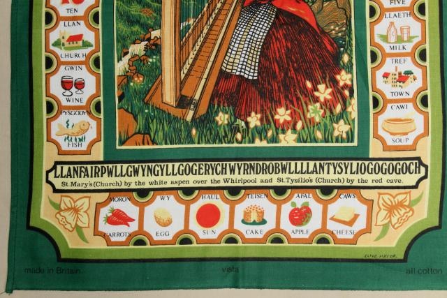 vintage tea towel, common words in Welsh language print, souvenir of Wales