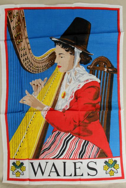 vintage tea towel souvenir of Wales, Welsh folk costume lady w/ harp print