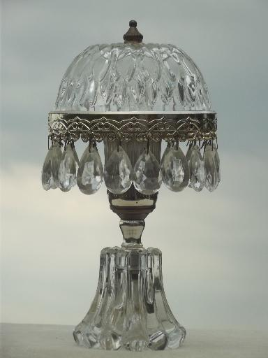 Vintage Teardrop Prisms Boudoir Lamp W Pressed Glass