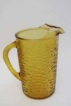 vintage textured glass pitcher, retro honey gold amber glass, Anchor Hocking Soreno