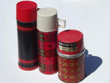 vintage thermos bottles for lunch or picnics, red tartanware plaid