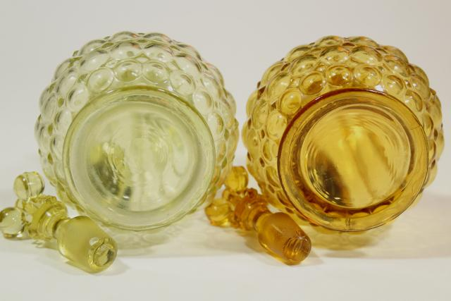 vintage thousand eye pattern pressed glass cruets, antique EAPG yellow amber glassware