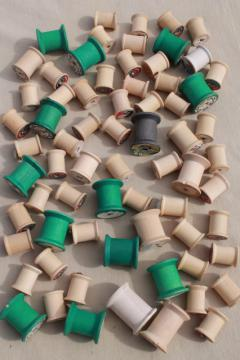 vintage thread / floss / ribbon spools lot, natural wood & green colored wooden spools