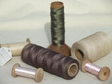 vintage thread spools lot, fine silky sewing thread & heavy shiny cord