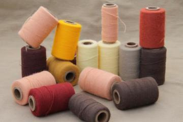 vintage thread spools, lot of embroidery yarn in primitive earth tone colors