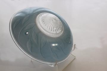 vintage three hole hanging light shade, sky blue w/ art deco leaf pattern