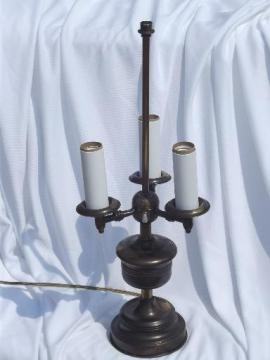 vintage three light candelabra candlestick lamp, antique brass finish