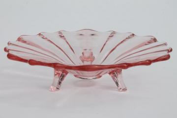 vintage three toed candy dish / footed bowl, pink depression glass