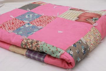 vintage tied quilt patchwork bedspread, candy pink cotton w/ print fabrics