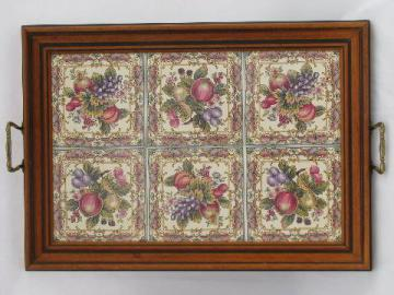 vintage tiled tray, flower patterned ceramic tiles framed in wood, brass handles