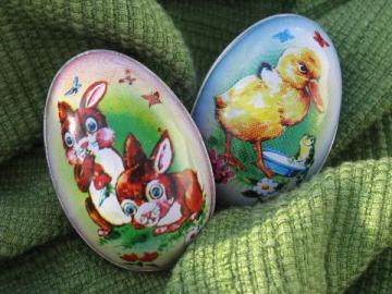 vintage tin Easter egg candy containers, 50s-60s metal litho print eggs