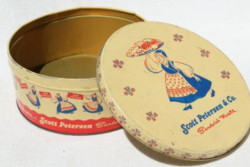 vintage tin advertising Petersen Sandwich Meats, little girl in Scandinavian folk costume