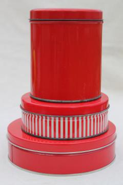 vintage tin canisters, red & white peppermint striped candy & cookie tins lot