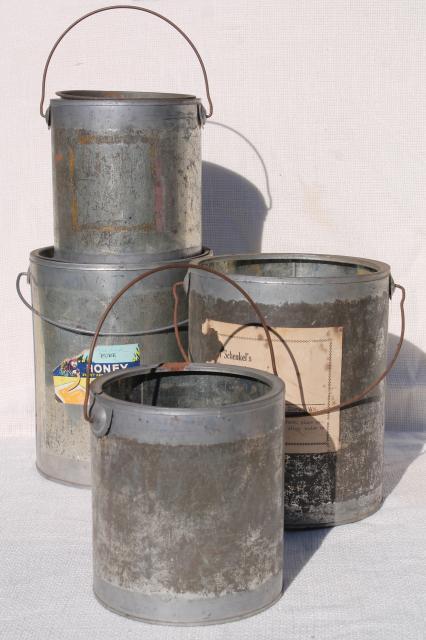 Vintage Tin Cans Rustic Primitive Old Zinc Metal Honey