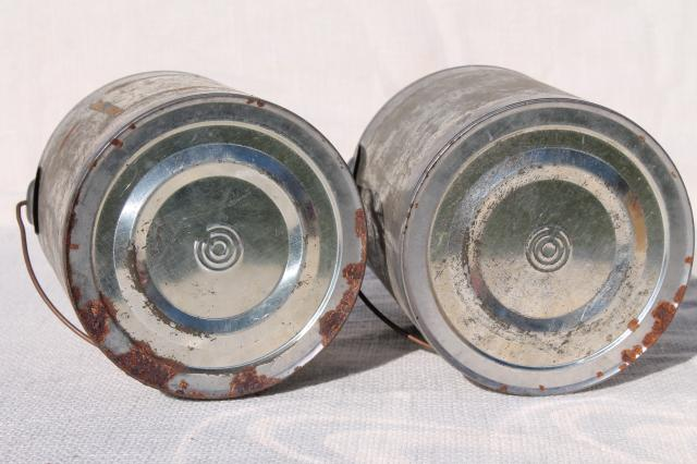 vintage tin cans, rustic primitive old zinc metal honey pail buckets