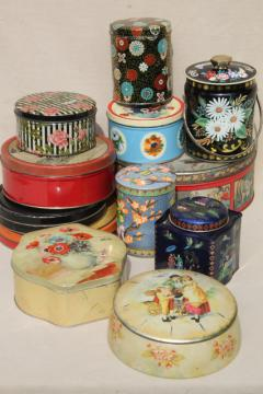 vintage tin collection, lot pretty tea tins, biscuit tins & chocolate boxes for sweets