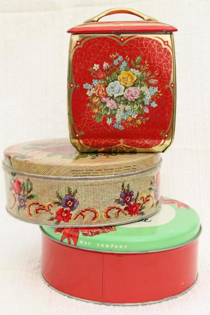 vintage tin collection, pretty flowered biscuit or tea canister & round cake tins