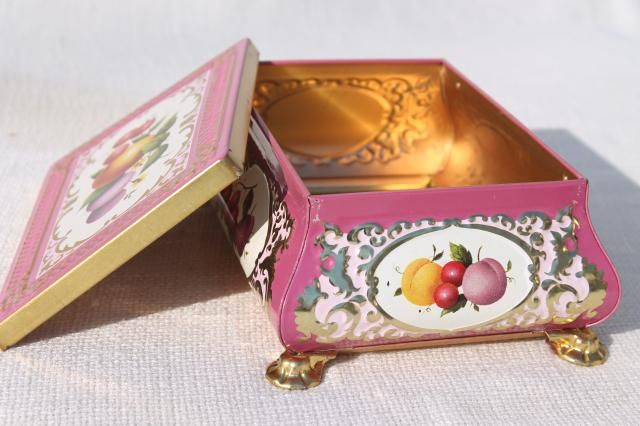vintage tin for a jewelry box or small sewing basket, fruit w/ pink and gold