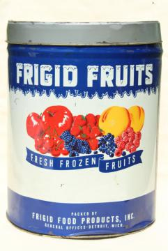vintage tin w/ fruit print, metal can w/ old advertising Frigid Fruits