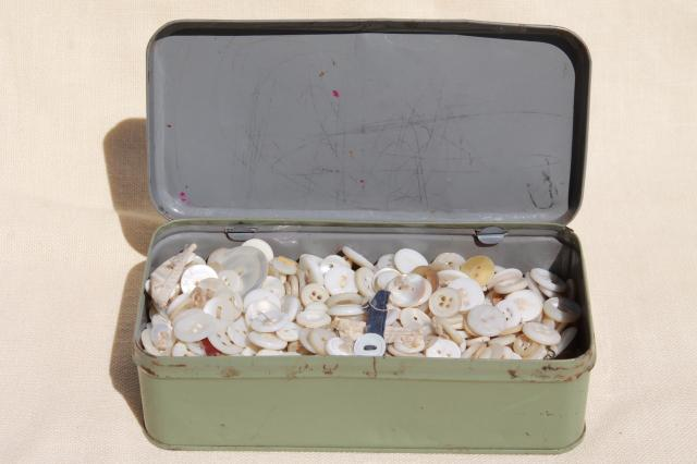 vintage tin full of antique buttons, mother of pearl shell button lot