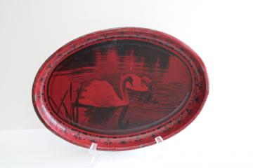 vintage tin metal tray, black & red photo print, family of swans w/ baby swan