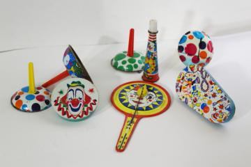 vintage tin noisemakers - New Year or party rattles, bells, horn, clapper tambourin