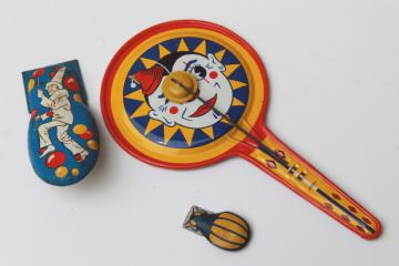 vintage tin noisemakers lot, clown litho print metal clicker & clapping gong drum