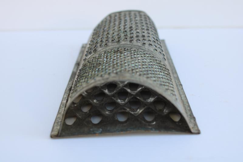 vintage tin nutmeg grater, primitive rustic old kitchen tool wall hanging