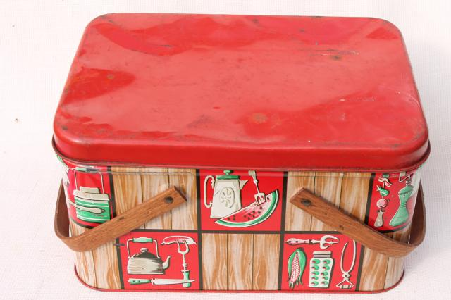 vintage tin picnic basket hamper w/ wood handles, Decoware kitchen ware litho print