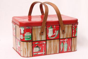 vintage tin picnic basket hamper w/ wood handles, Decoware kitchen ware litho print