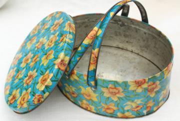 vintage tin sewing basket, print yellow daffodils on aqua, oval candy box w/ handle