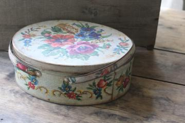 vintage tin sewing box, floral needlepoint print oval metal picnic basket w/ handles