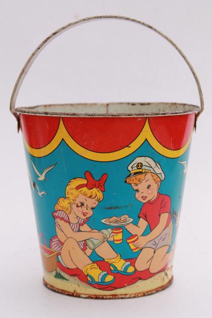 Vintage Tin Toy Sand Pail Bucket Ohio Art Print Metal